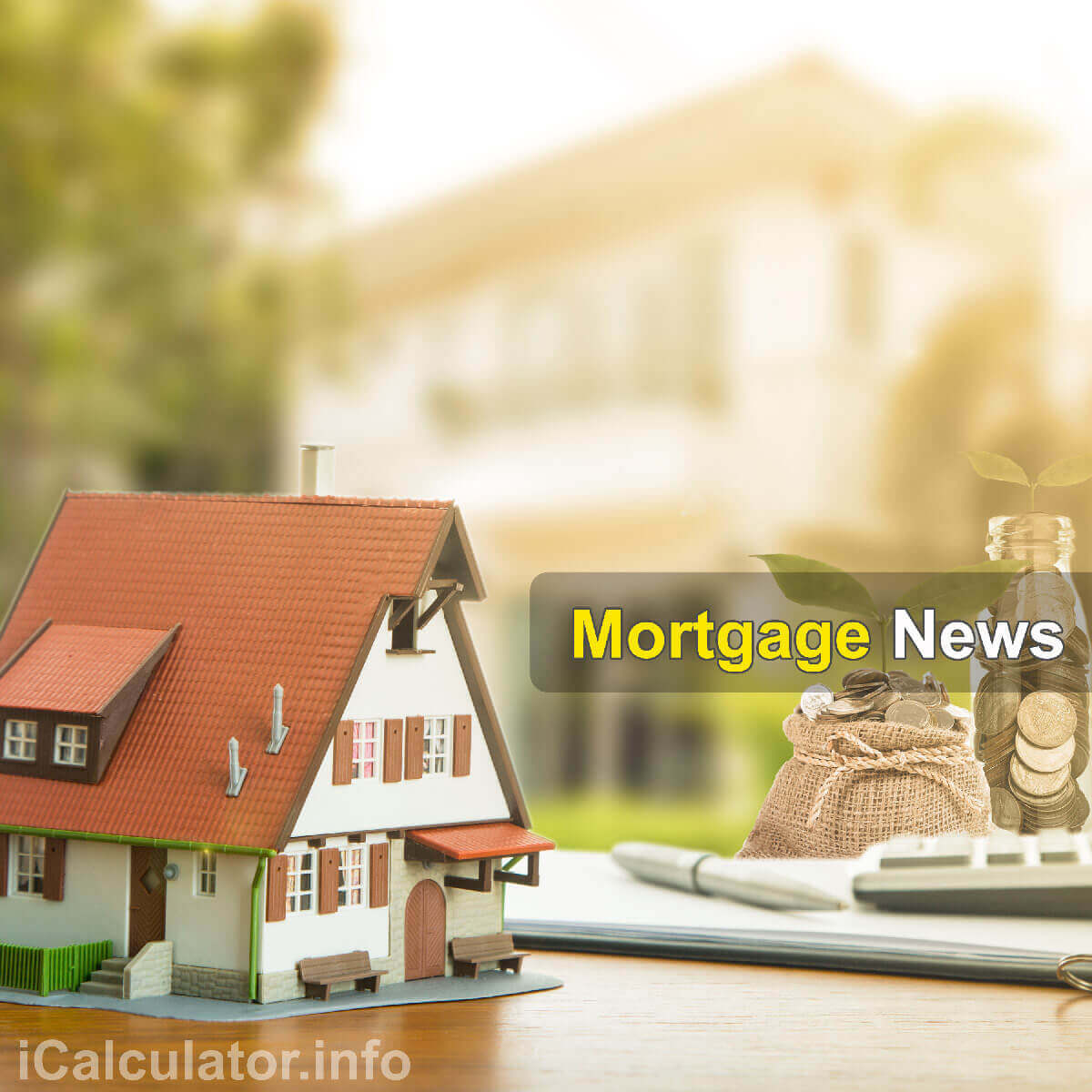 Mortgage Calculator. This image shows a beautiful home for a first time buyer, a notepad and a calculator being used to calculate the monthly repayment amount on a £95,000.00 mortgage with a 6% mortgage interest rate. Alternatively, people can calculate their monthly mortgage repayments on £95,000.00 at 6% using the mortgage calculator by iCalculator