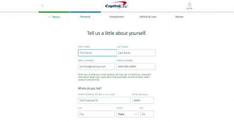 Share personal information to get started with Capital One Auto Refinance
