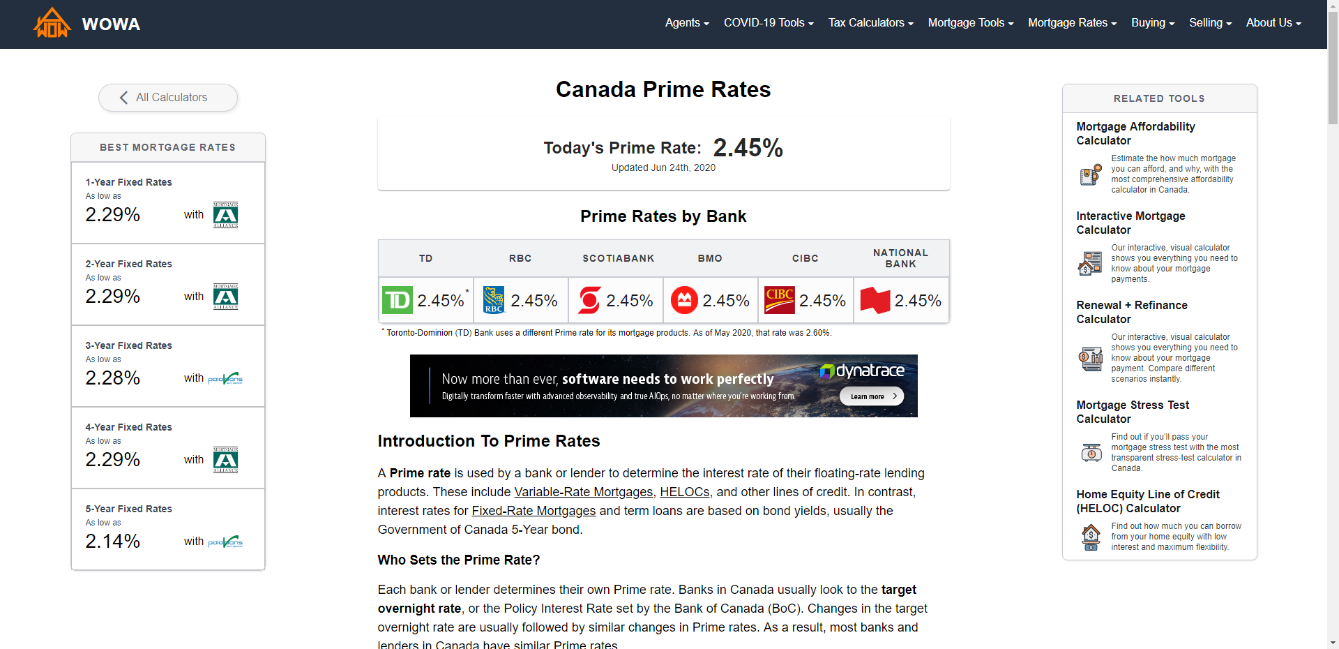Canada Prime Rate History (1935 - August 2020)