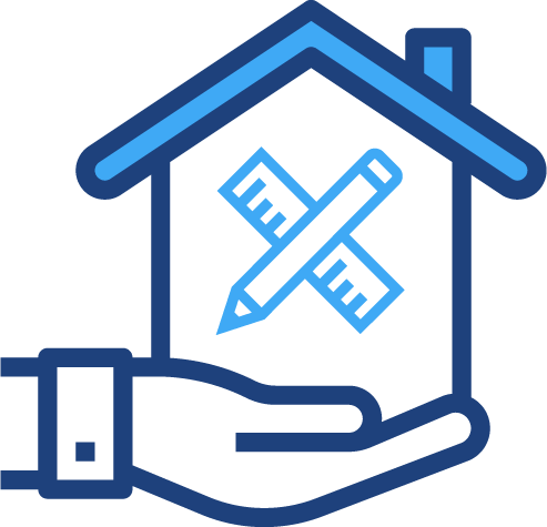 A graphical illustration of a hand holding a house with tools in it