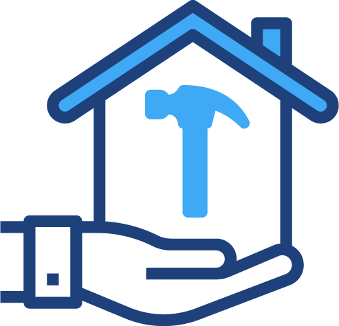 A graphical illustration of a hand holding a house with a hammer in it