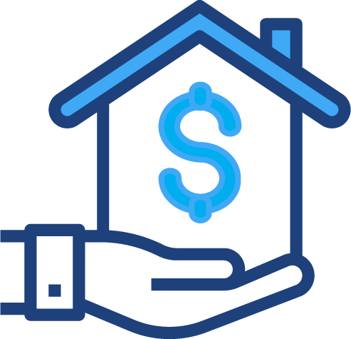 A graphical illustration of a hand holding a house with a dollar sign in it
