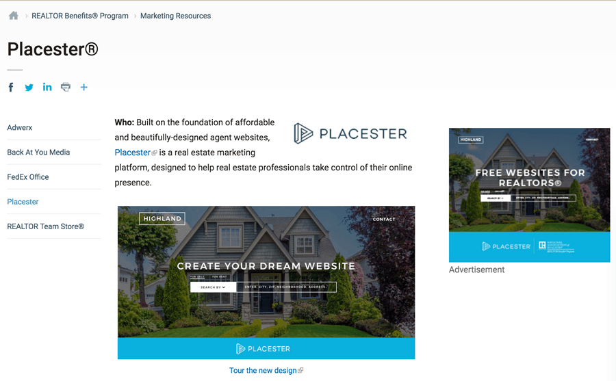 Free Placester Website From NAR