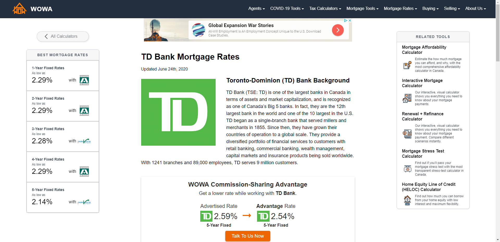 TD Bank Fixed and Variable Mortgage Rates Sep 2020   Special 1.99%