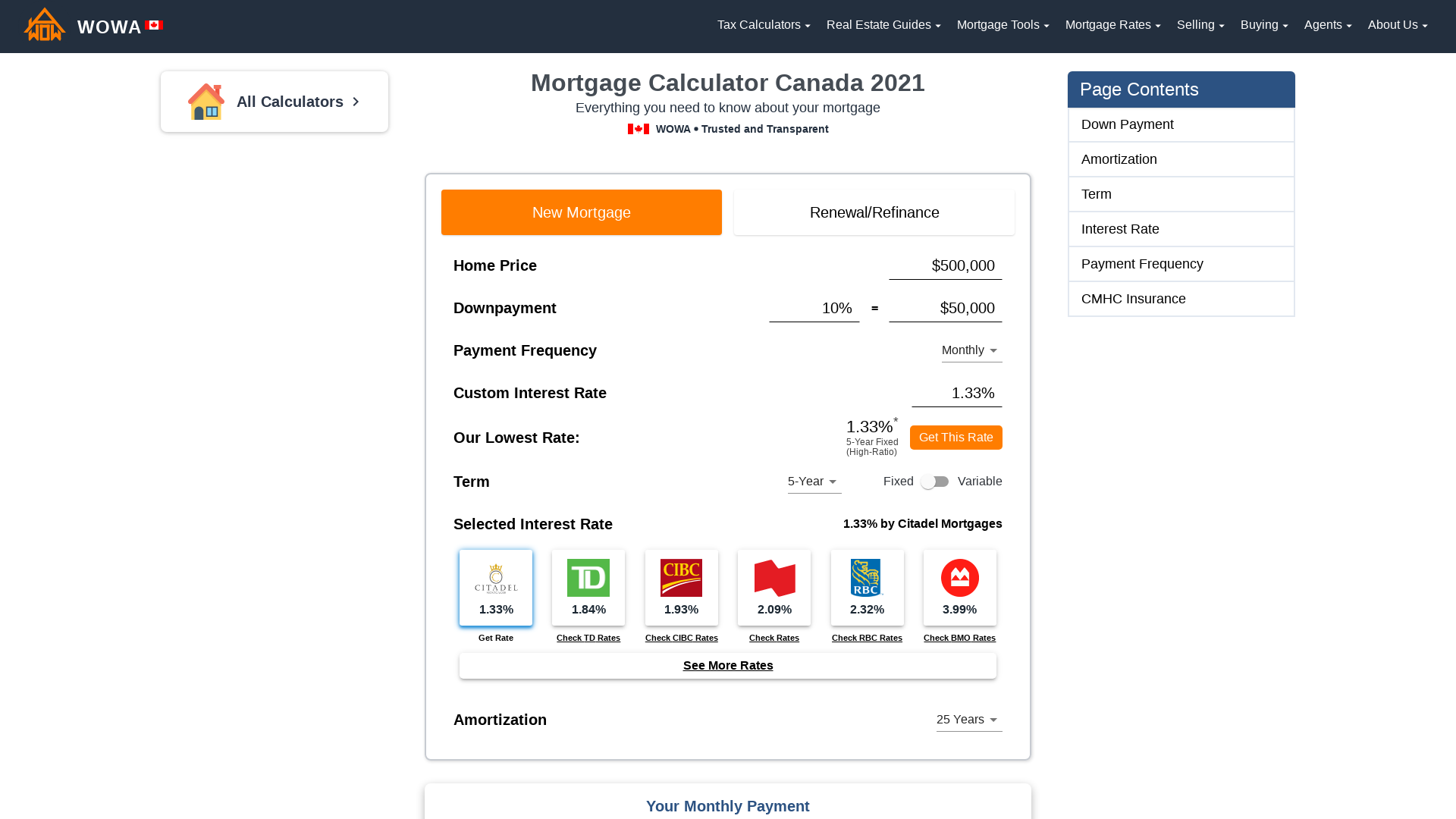 Mortgage Calculator Canada 2021 – Payments and Amortization