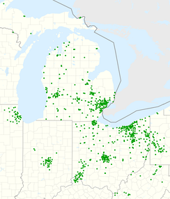 Map of Huntington branches, as of February 2021 (prior to merger with TCF Bank)