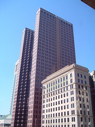 The Huntington Center (left), the company's headquarters, beside the Huntington National Bank Building (right), in downtown Columbus, Ohio