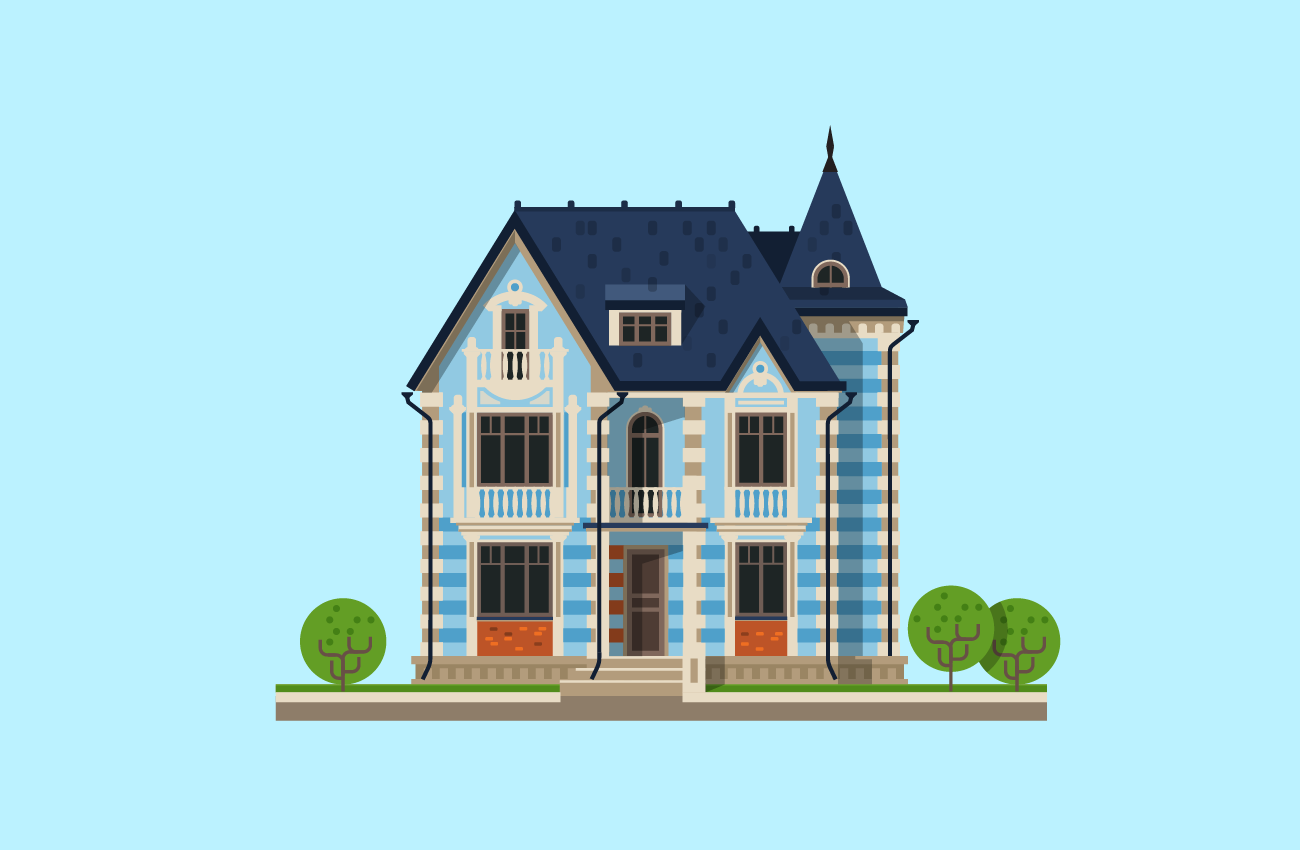 Illustration of a Big Luxurious House.
