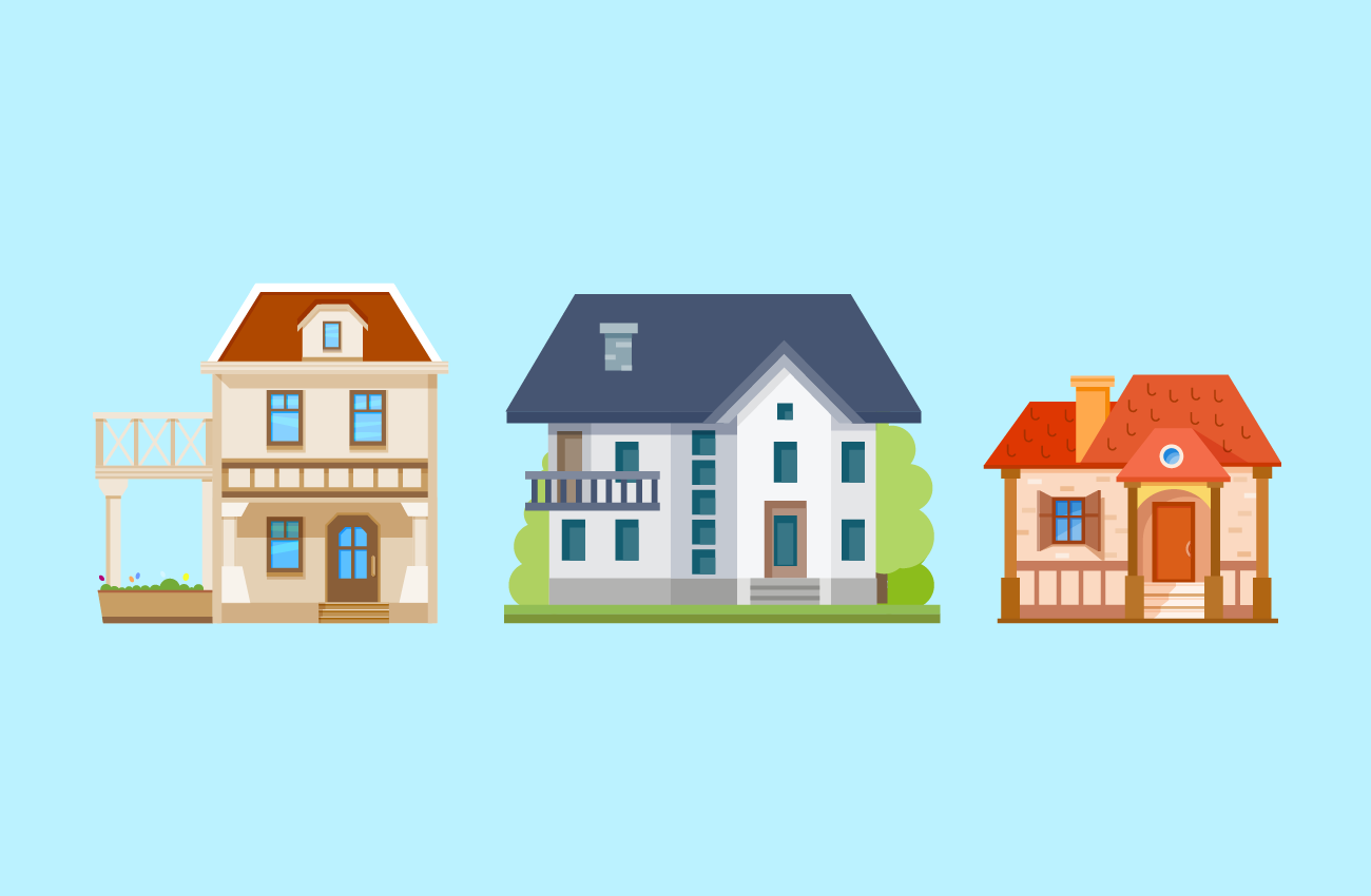 Various types of houses.